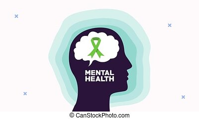mental health animation with profile silhouette and ribbon campaign in brain ,4k video animated
