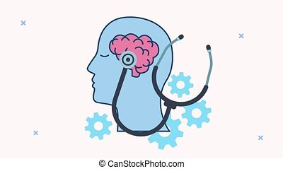 mental health animation with profile silhouette and stethoscope in brain ,4k video animated