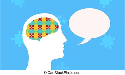 mental health animation with profile silhouette speaking and brain puzzle ,4k video animated