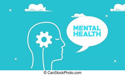 mental health animation with profile silhouette speaking and gear ,4k video animated