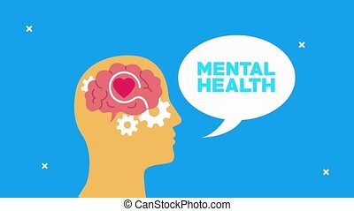 mental health animation with profile silhouette speaking and gears brain ,4k video animated