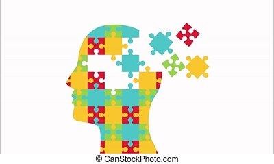 mental health animation with puzzle profile