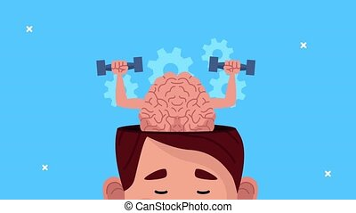 mental health animation with young man and brain lifting dumbbells ,4k video animated