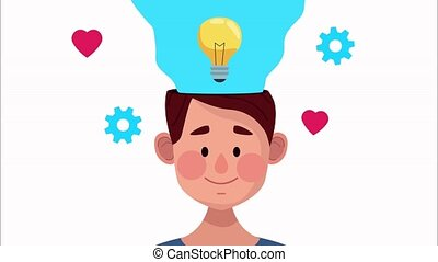 mental health animation with young man and bulb