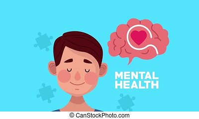 mental health animation with young man and heart in brain