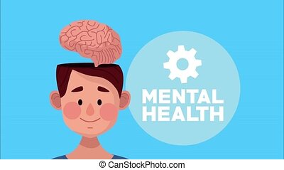 mental health animation with young man brain and gear ,4k video animated