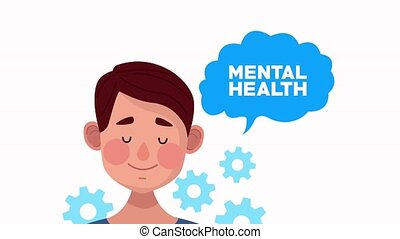 mental health animation with young man speaking and gears ,4k video animated