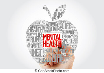 Mental health apple word cloud with marker