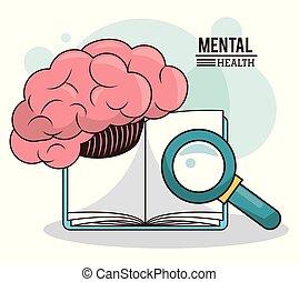 mental health, brain book magnifier knowledge