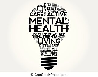 Mental health bulb word cloud collage