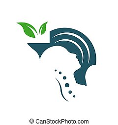 mental health care logo vector design head leaf hand template icon for medical and teraphy psychotherapy sign symbol