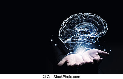 Mental health - Close up of businessman holding digital...