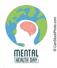 Mental Health Day lettering with brain in head profile and earth planet