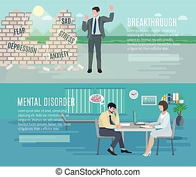 Mental health flat banners set