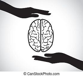 mental health hand protecting brain - hand silhouettes...