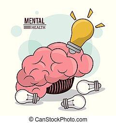 mental health, human brain bulb idea innovation mind