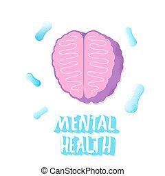 Mental health. Human brain. Vector illustration.