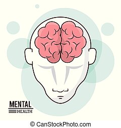 mental health, human head brain front intelligence design