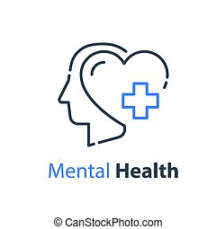 Mental health, human head, psychological help, psychiatry concept, therapy course, cognitive development, vector line icon
