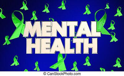 Mental Health Illness Awareness Ribbons 3d Illustration