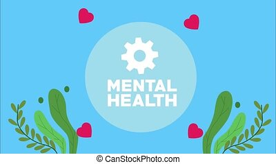 mental health lettering animation with gear and leafs