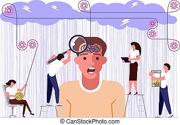 Mental health problems concept in flat design. psychologists help a person to solve depression. Vector illustration eps 10