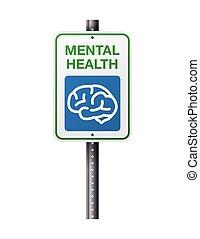 Mental Health Sign - A street sign parking lot sign for...
