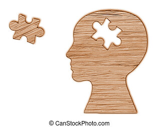 Human head silhouette with a puzzle cut out