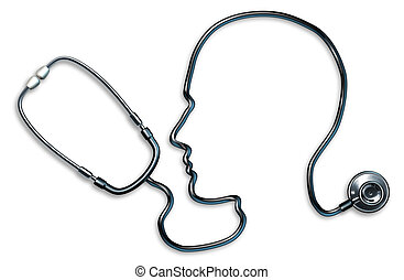 Mental health with stethoscope in the form of a human head...