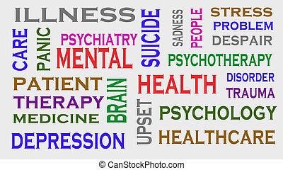 Mental health word tag cloud. Medical Concept.