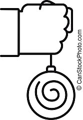 Mental hypnosis pendulum icon. Outline mental hypnosis pendulum vector icon for web design isolated on white background