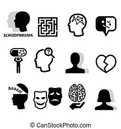 mental, iconos, esquizofrenia, salud