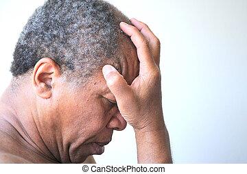 Mental Illness - African american man feeling sad and...
