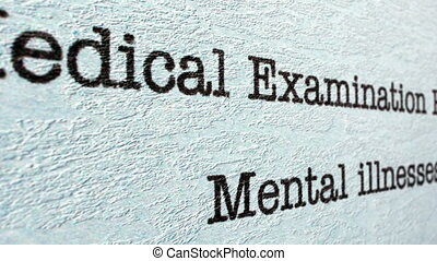 Mental illness medical report