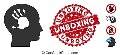 Mental Imprinting Icon with Grunge Unboxing Stamp