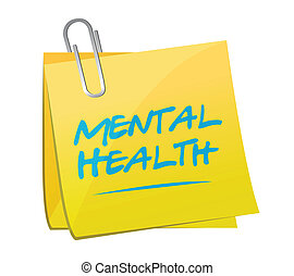 mental, memo, illustration, hälsa, design, post