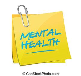 mental, memorándum, ilustración, salud, diseño, poste