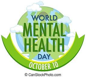 mental, mundo, saúde, dia, ícone