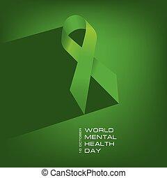 mental, mundo, saúde, dia, cartaz