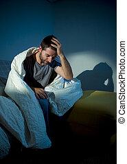 mental, olhando jovem, sofrimento, doente, desordem, ou,...
