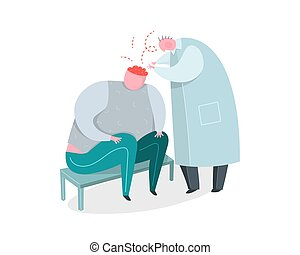 Mental Psychiatrist Doctor at work and Patient. - Brain...