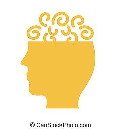 mental, style, profil, santé, confusion, icône, silhouette
