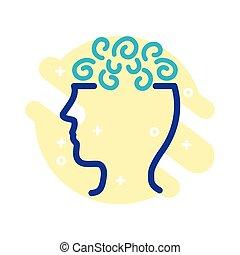 mental, style, profil, santé, ligne, confusion, icône
