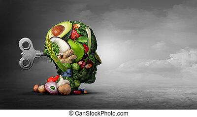 mental, vegan, régime, fonction