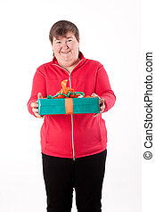 mentally disabled women gets or give a present