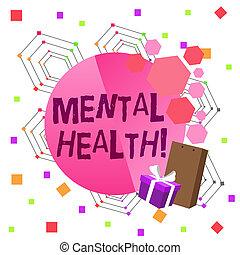 mentalny, fotografia, psychologiczny, pisanie, stan, tekst, konceptualny, health., handlowy, afisz, pokaz, ręka, bowknot., demonstrowanie, ozdobny, karta, boks, dar, poziom, pakunek, wellbeing, powitanie, albo