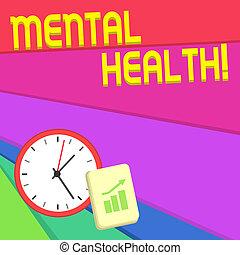 mentalny, spoinowanie, ściana, tekst, znak, psychologiczny, do góry., układ, zegar, wykres, stan, fotografia, konceptualny, health., pokaz, notatnik, demonstrowanie, bar, poziom, wellbeing, escalating, strzała, albo