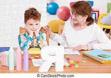 mente, Alcance, terapeuta, muchacho, niño, Tratar, amistoso
