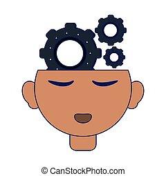 mente, cabeça, abertos, engrenagens, human