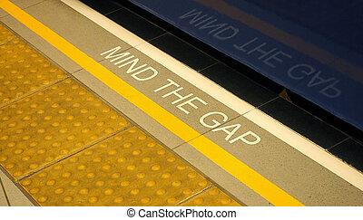 mente, el, boquete, texto, señal, en, floor.